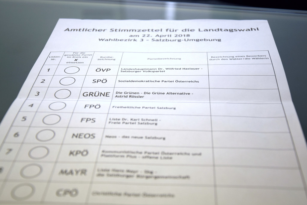 Stimmzettel zur Salzburger Landtagswahl 2018.