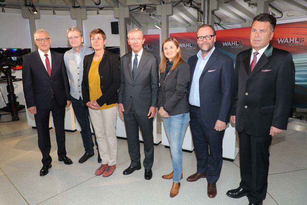 Runde der Spitzenkanditaten, im Bild: Walter Steidl, Karl Schnell, Astrid Rössle..