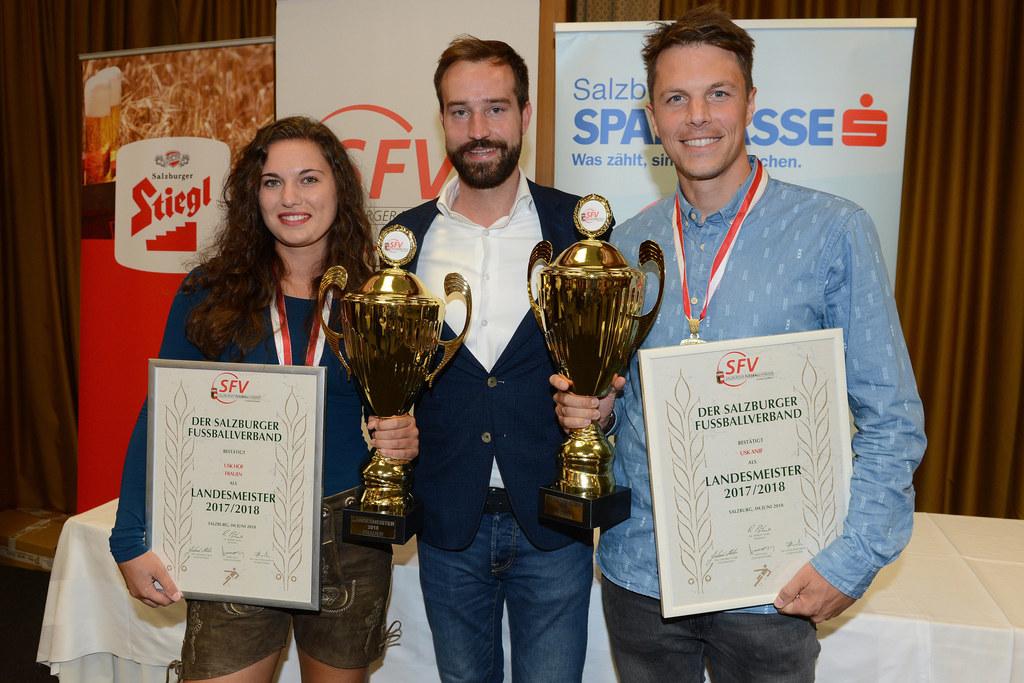 SFV-Meisterfeier 2017/18, im Bild: Evelyn Kronberger, Landesrat Stefan Schnöll u..