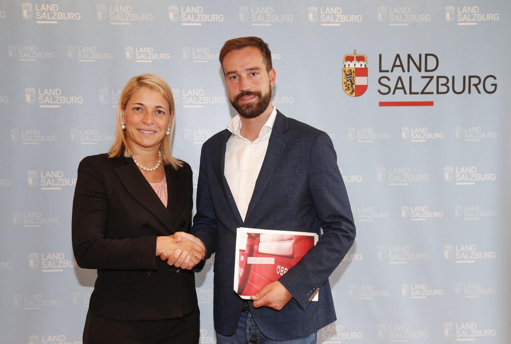 ÖBB-Vorstandsdirektorin Evelyn Palla und Landesrat Stefan Schnöll.