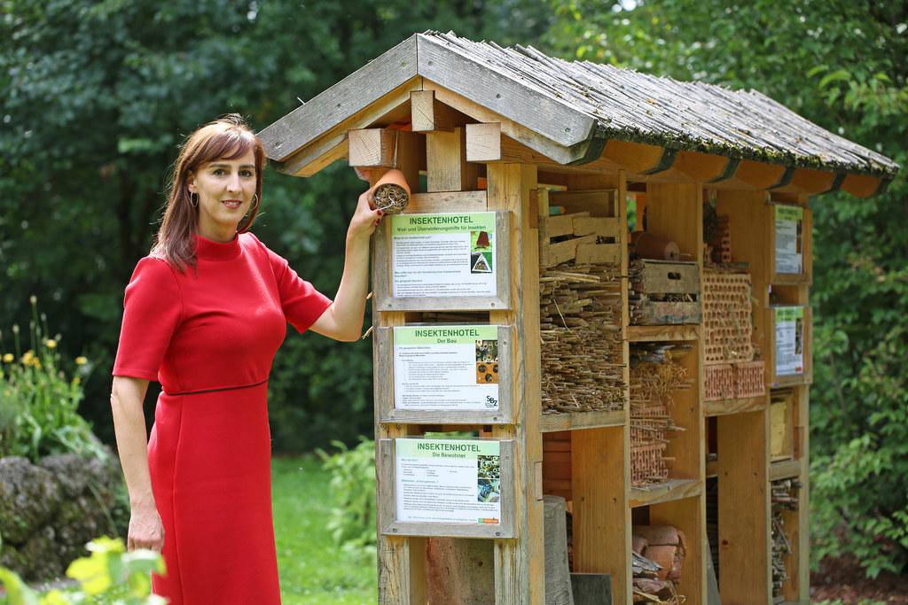 Landesrätin Maria Hutter vor dem Insektenhotel im botanischen Garten der Univers..