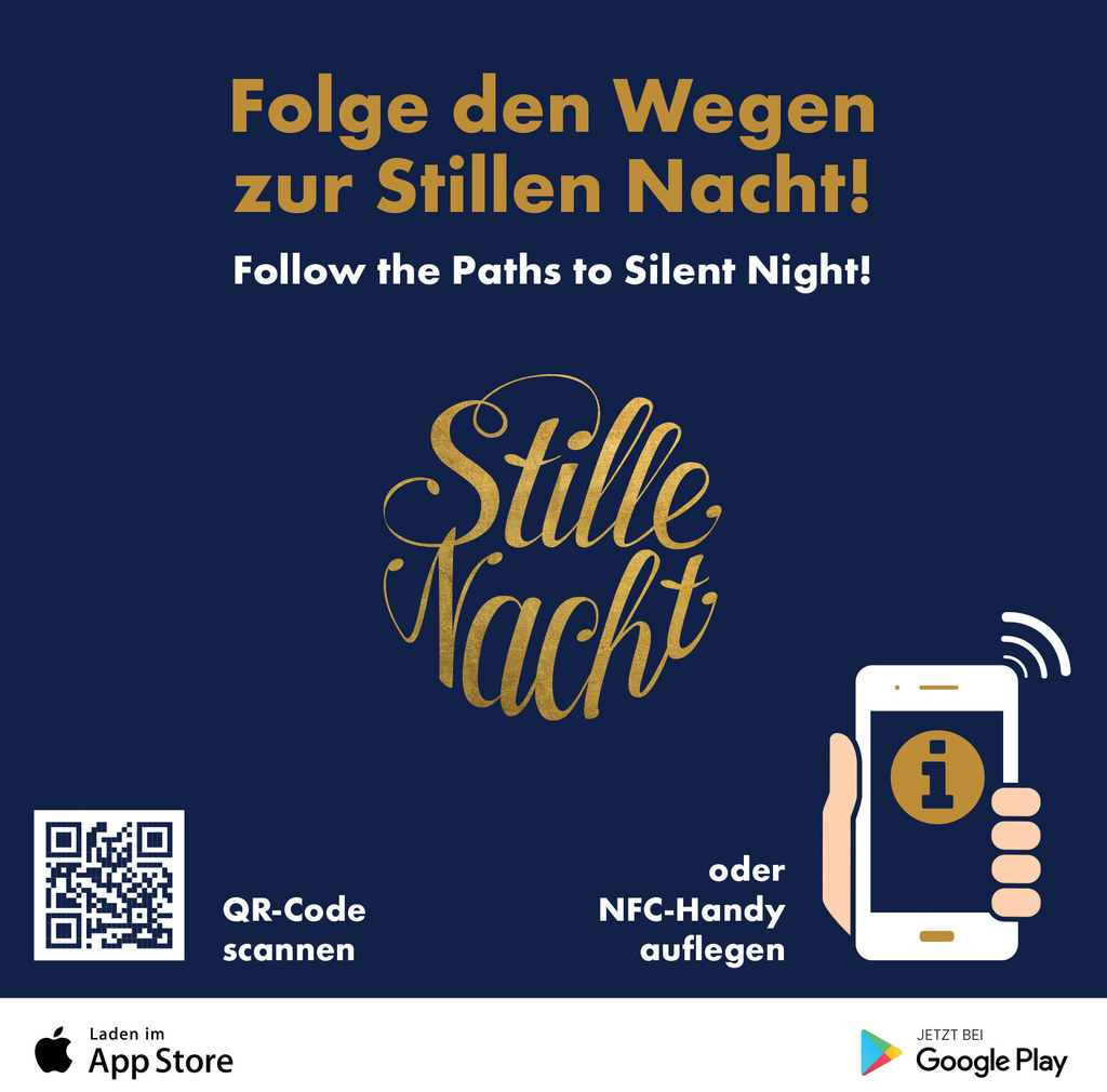 Die neue Stille Nacht-App gibt es kostenlos in den App-Stores oder per QR-Code z..