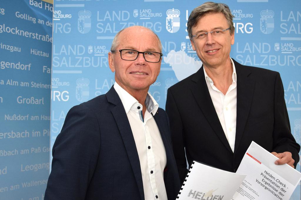 Landeshauptmann-Stellvertreter Christian Stöckl und Vorsorgemediziner Peter Kowa..