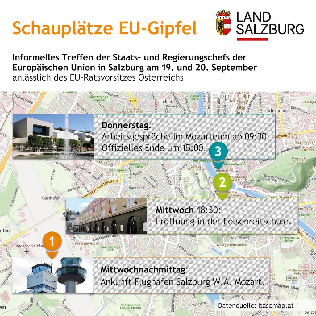 An diesen drei Schauplätzen spielt sich der EU-Gipfel in Salzburg ab.