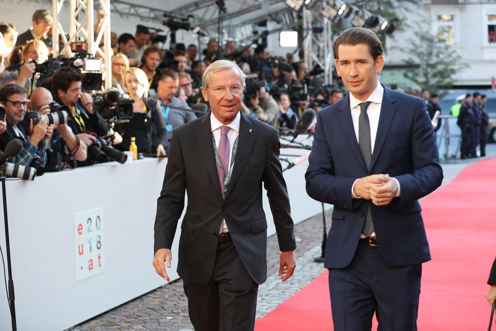 Landeshauptmann Wilfried Haslauer und Bundeskanzler Sebastian Kurz begrüßten die..