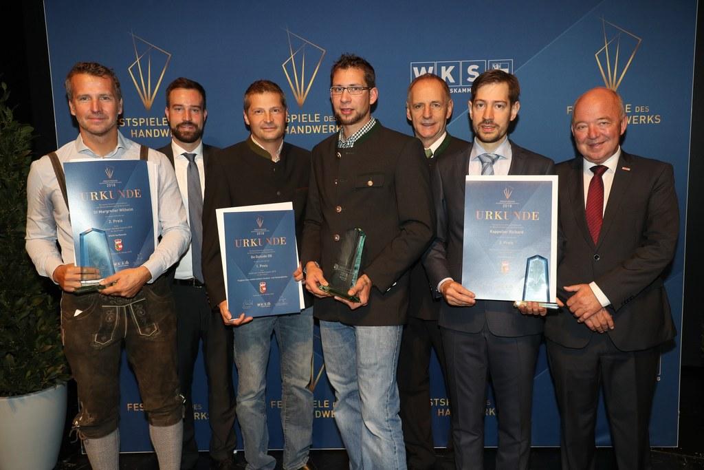 Kür der Sieger des Salzburger Handwerkspreises 2018 (v. l.): Wilhelm Margreiter,..