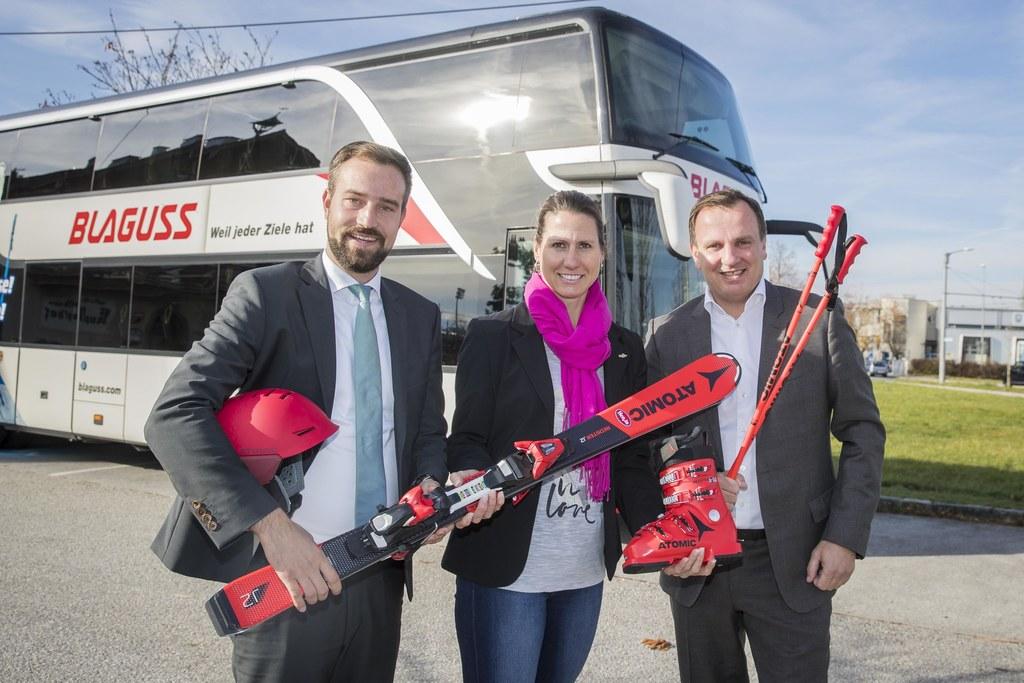 Landesrat Stefan Schnöll, die Vizepräsidentin des Salzburger Landes-Skiverbandes..