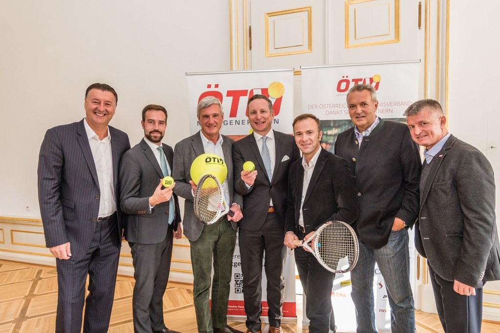 Salzburg im Tennisfieber: Edwin Weindorfer, LR Stefan Schnöll, Bgm. Harald Preun..