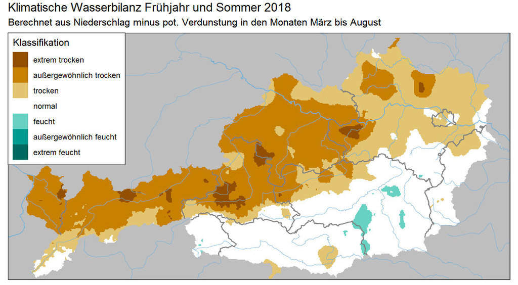 Die Grafik der ZAMG zeigt: Fast ganz Salzburg war und ist von der Trockenheit be..