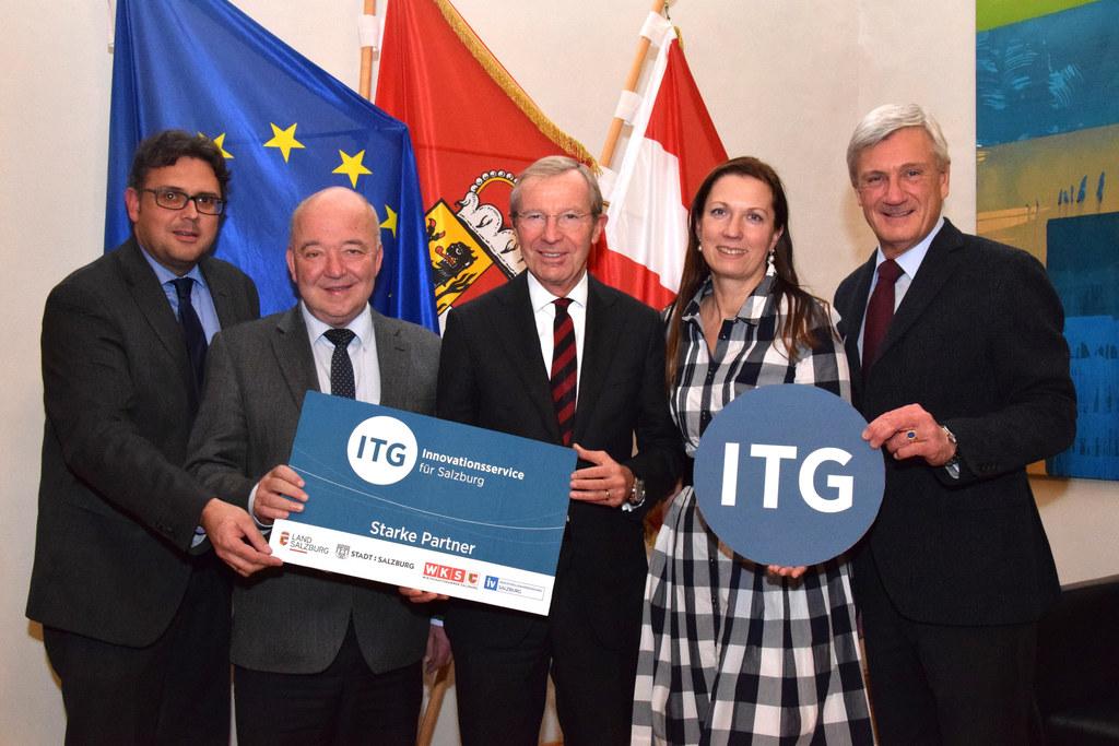 ITG-Geschäftsführer Walter Haas, WKS-Präsident Konrad Steindl, LH Wilfried Hasla..