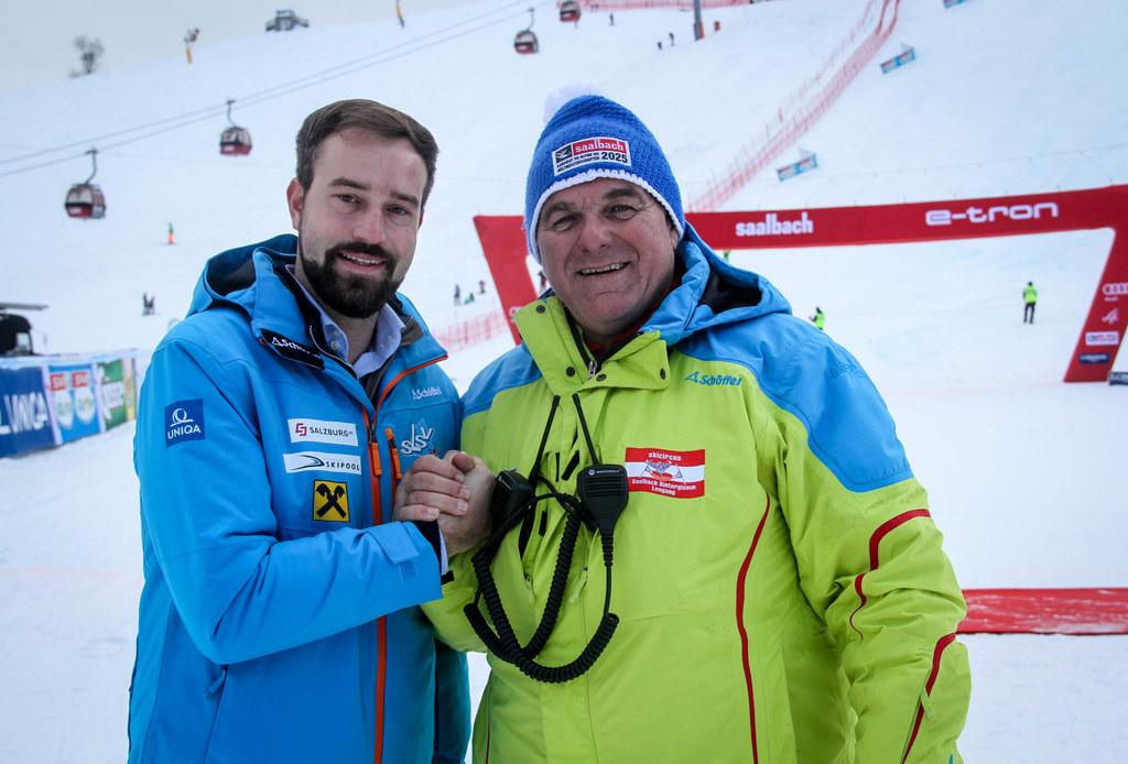 LR Stefan Schnöll und Skipräsident Bartl Gensbichler: Salzburg ist im Jänner wieder Gastgeber vieler Weltcupbewerbe und im Jahr 2025 vielleicht Austragungsort der Alpinen Ski-Weltmeisterschaft.