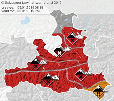 In Teilen Salzburgs gilt Lawinenwarnstufe 5. Besonders betroffen ist der Bereich..