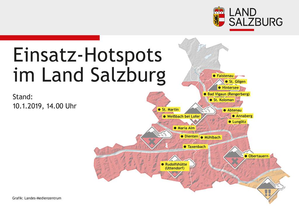Grafik zu den Einsatz-Hotspots im Land Salzburg.