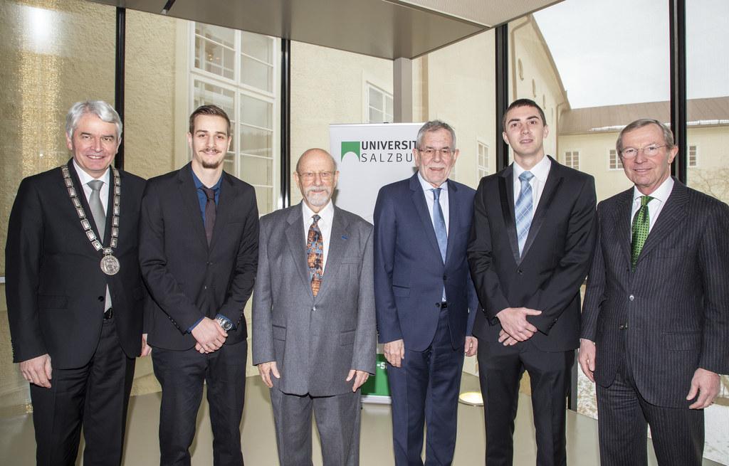Bundespräsident Alexander Van der Bellen, LH Wilfried Haslauer und Rektor Heinri..