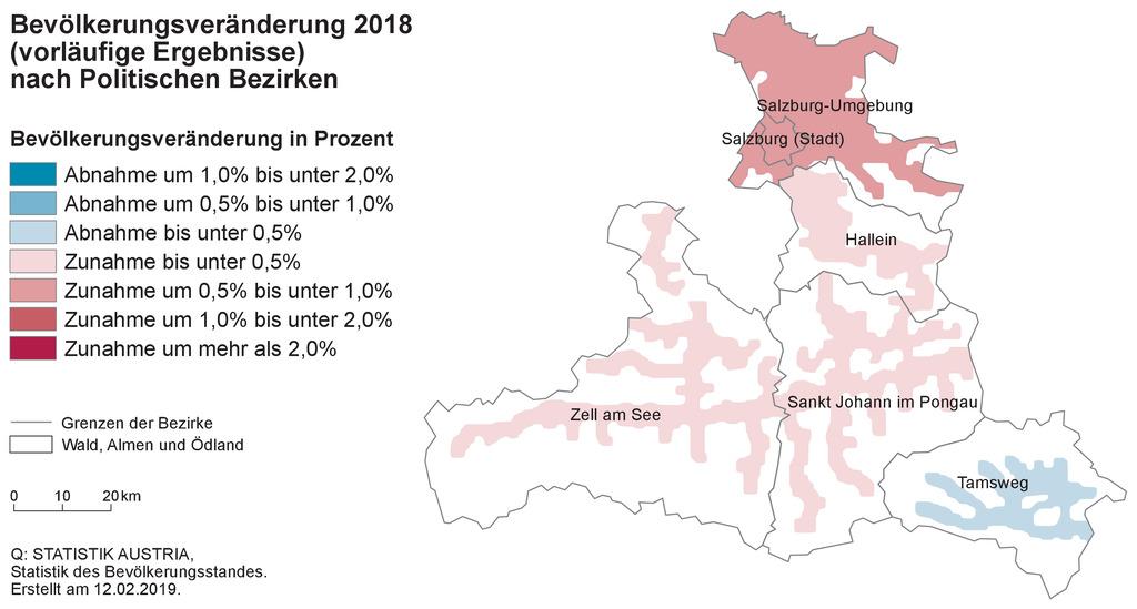 Bevölkerungsveränderung 2018 nach politischen Bezirken.