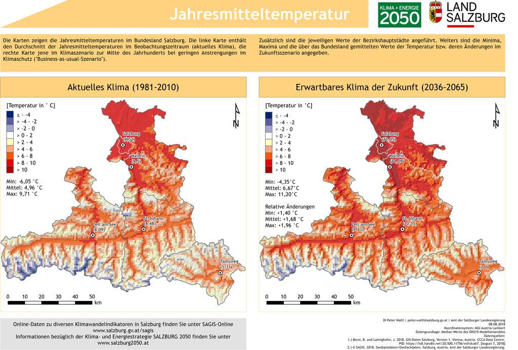 Die SAGIS-Grafik zeigt die Jahresmittel-Temperatur im Land Salzburg im Vergleich..