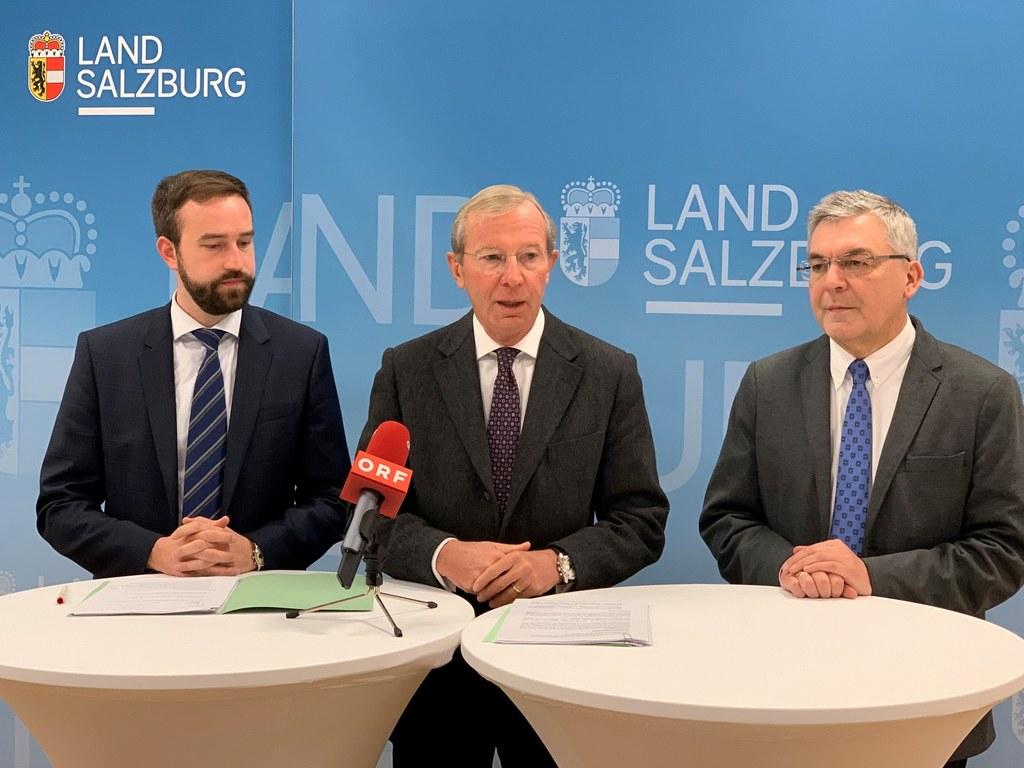 LR Stefan Schnöll, LH Wilfried Haslauer und LR Josef Schwaiger präsentierten die..