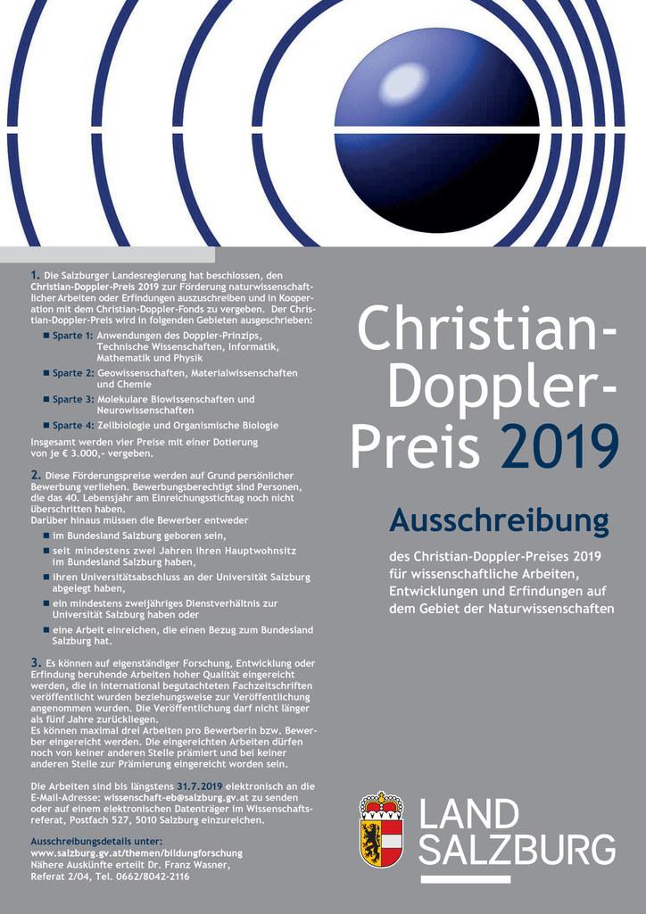 Forschungsarbeiten mit Salzburg-Bezug können beim Christian-Doppler-Preis 2019 e..
