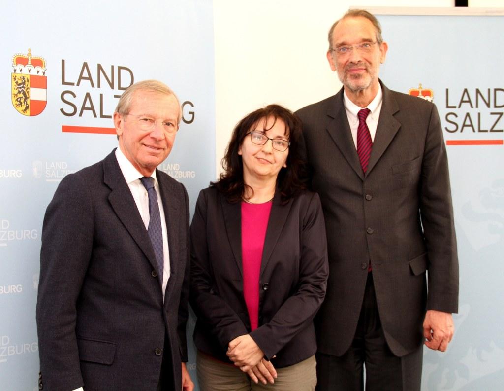 LH Wilfried Haslauer, Angela Weilguny (Direktorin BIFIE, jetzt IQS) und BM Heinz..