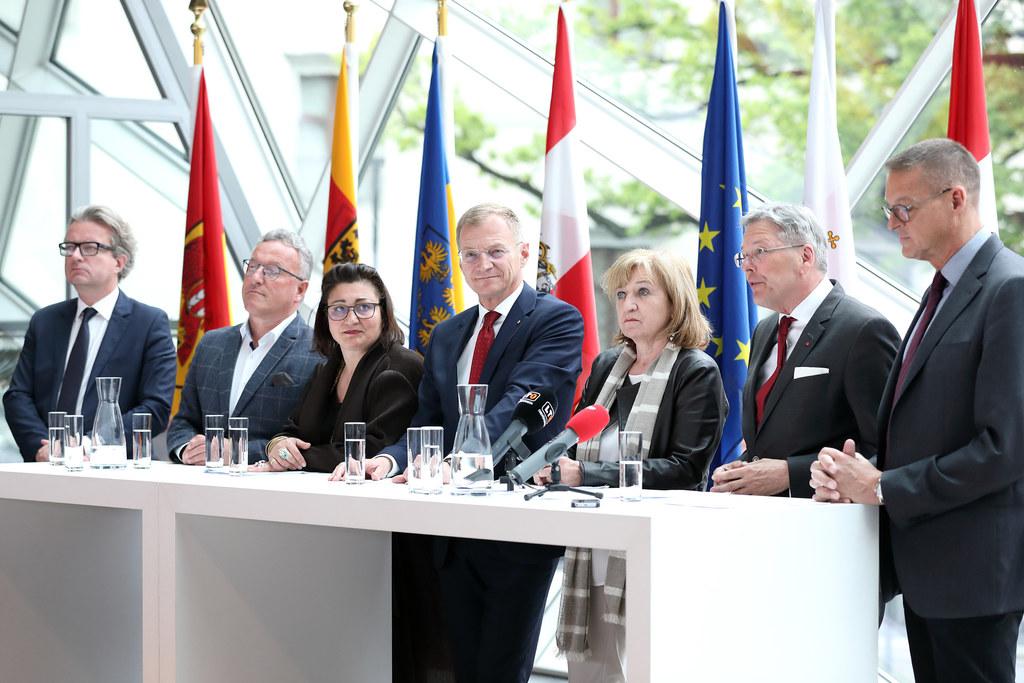 Landeskulturreferentenkonferenz in Linz, v.l.n.r.: LR Christopher Drexler (Steie..