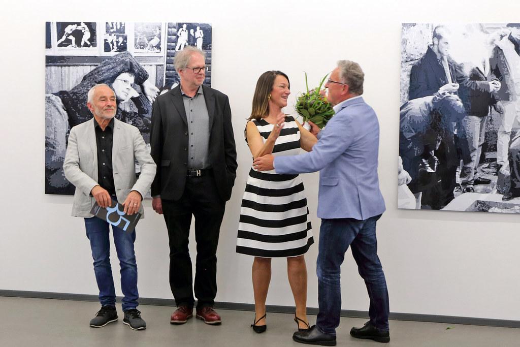35 Jahre Galerie Eboran, im Bild: Wolfgang Richter, Künstler Konrad Winter, Gale..