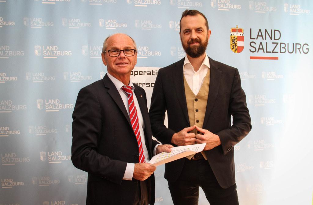 LH-Stv. Christian Stöckl und SGKK-Obmann Thom Kinberger stellten die Gesundheits..