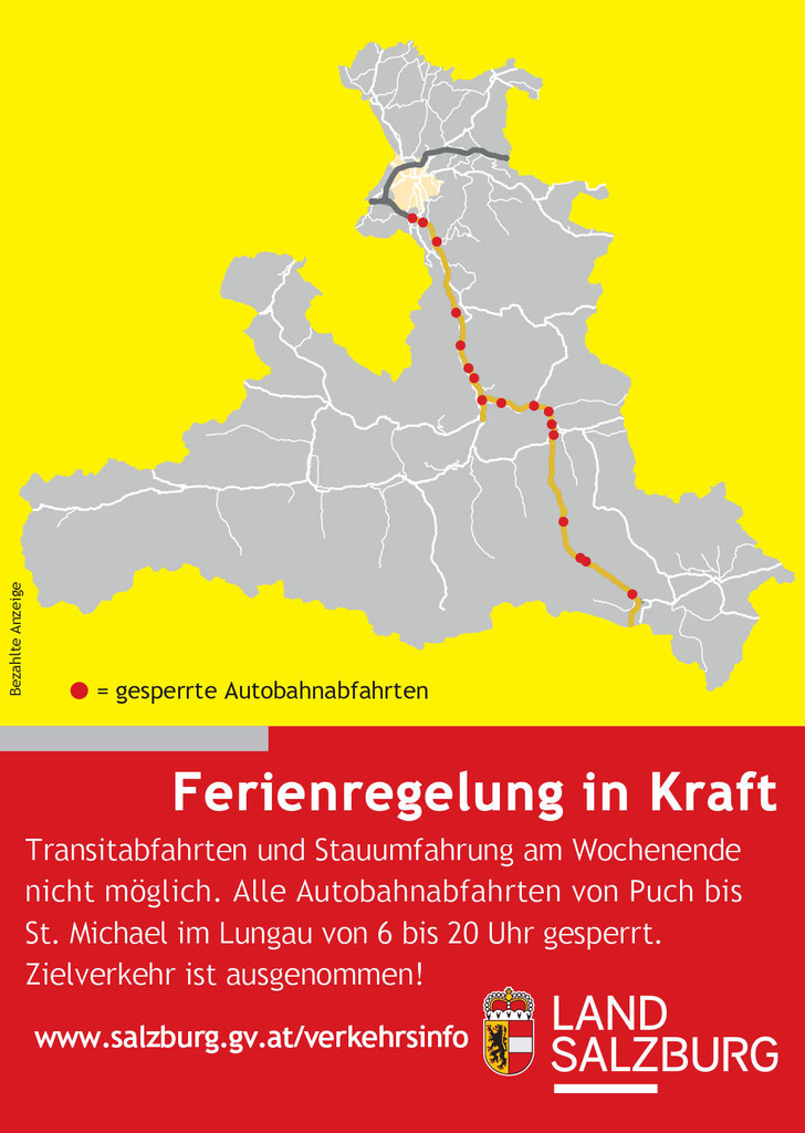 Mit einer generellen Sperre der Autobahnausfahrten an Wochenenden im Sommerreise..