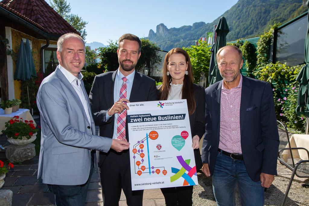 Zwei neue Buslinien für Hallein eröffnet: Bgm. Alexander Stangassinger, LR Stefa..