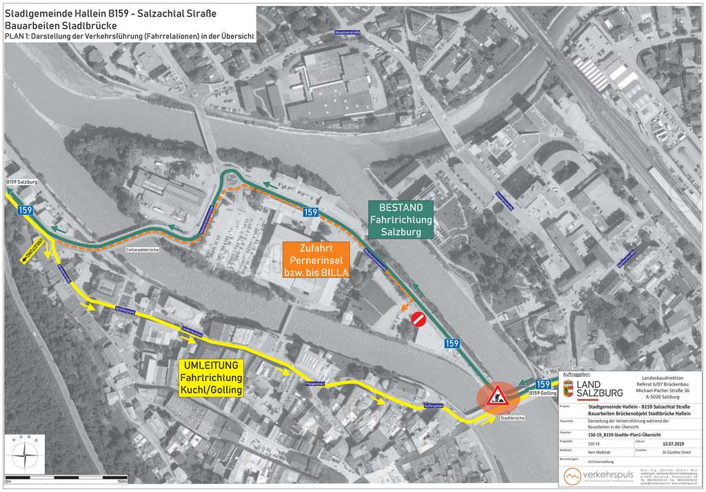 Während Sanierung der Halleiner Stadtbrücke wird der Verkehr Richtung Süden umge..