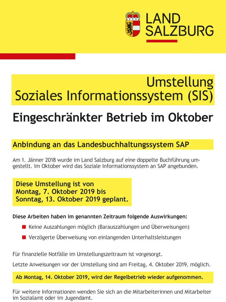 Von 7. bis 13. Oktober gibt es Einschränkungen im Sozialen Informationssystem.