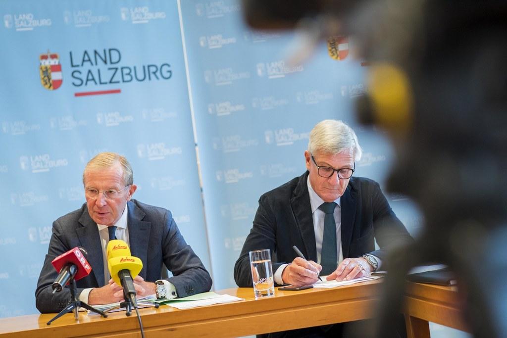 LH Wilfried Haslauer und Bgm. Harald Preuner präsentierten die Schwerpunkte des ..
