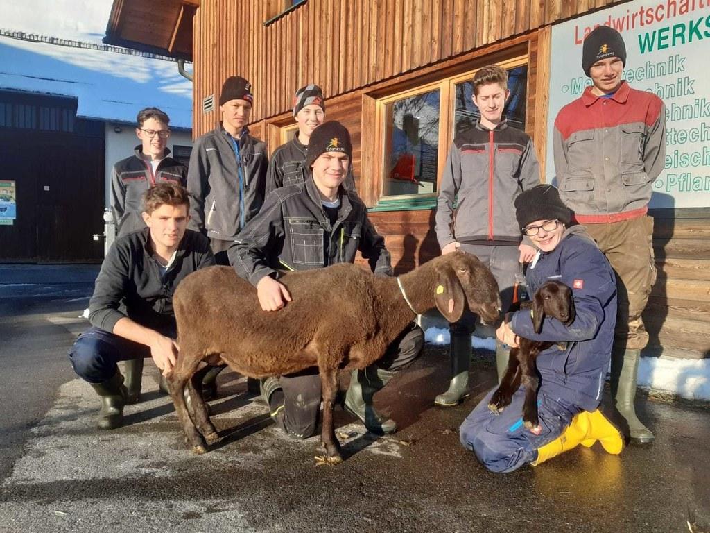 Schüler der LFS Tamsweg voller Stolz mit ihrer Bella und deren jüngstem Lamm.