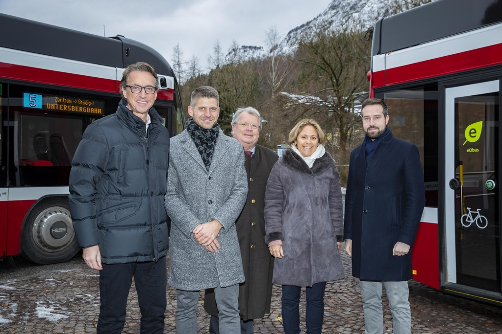 Die O-Bus-Linie 5 fährt jetzt bis zur Bergbahn, die auf den Unterberg fährt.