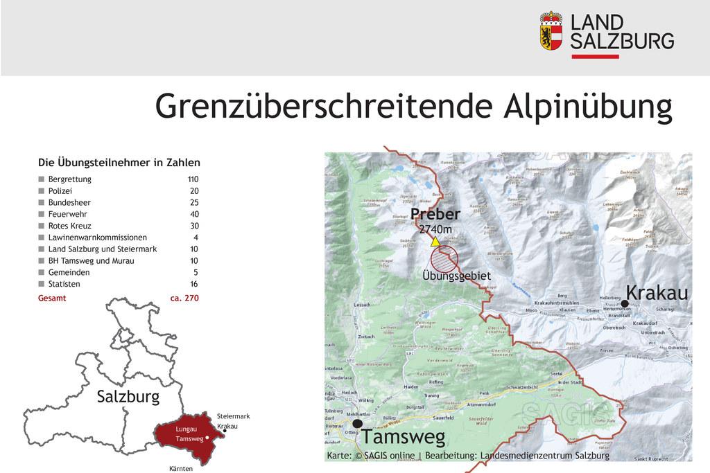 Das Übungsgebiet befindet sich im Prebergebiet, im Grenzbereich zwischen Salzburg und Steiermark.
