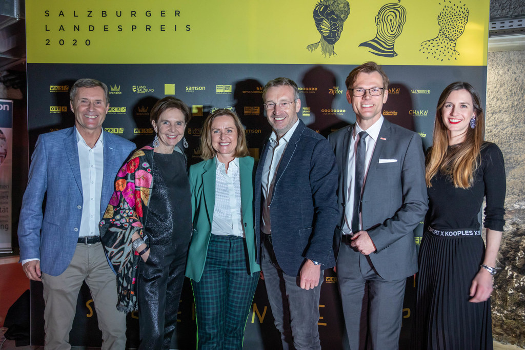 Vertreter von Wirtschaftskammer und Land bei der Vergabe des Landespreises für Marketing, Kommunikation & Design 2020.