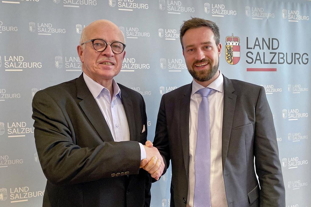 Landesverbandspräsident Georg Rußbacher und LR Stefan Schnöll freuen sich schon auf das Top-Karateturnier in Salzburg am Wochenende.