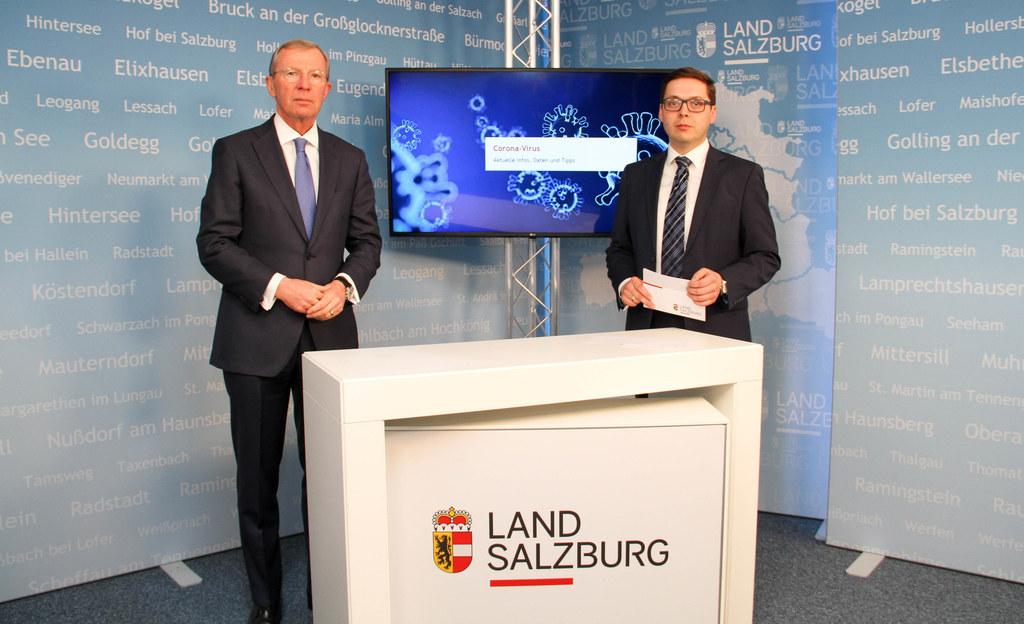 LH Wilfried Haslauer informierte in einem Studio-Gespräch mit Chefredakteur Franz Wieser über die Quarantäne in Flachau sowie im Großarltal und im Gasteinertal.