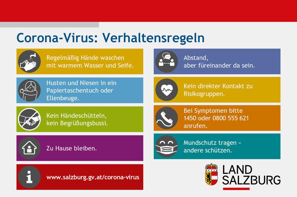 Nach wie vor gelten die wichtigen allgemeinen Verhaltensregeln, um ein Ansteckungsrisiko mit dem Corona-Virus zu minimieren.