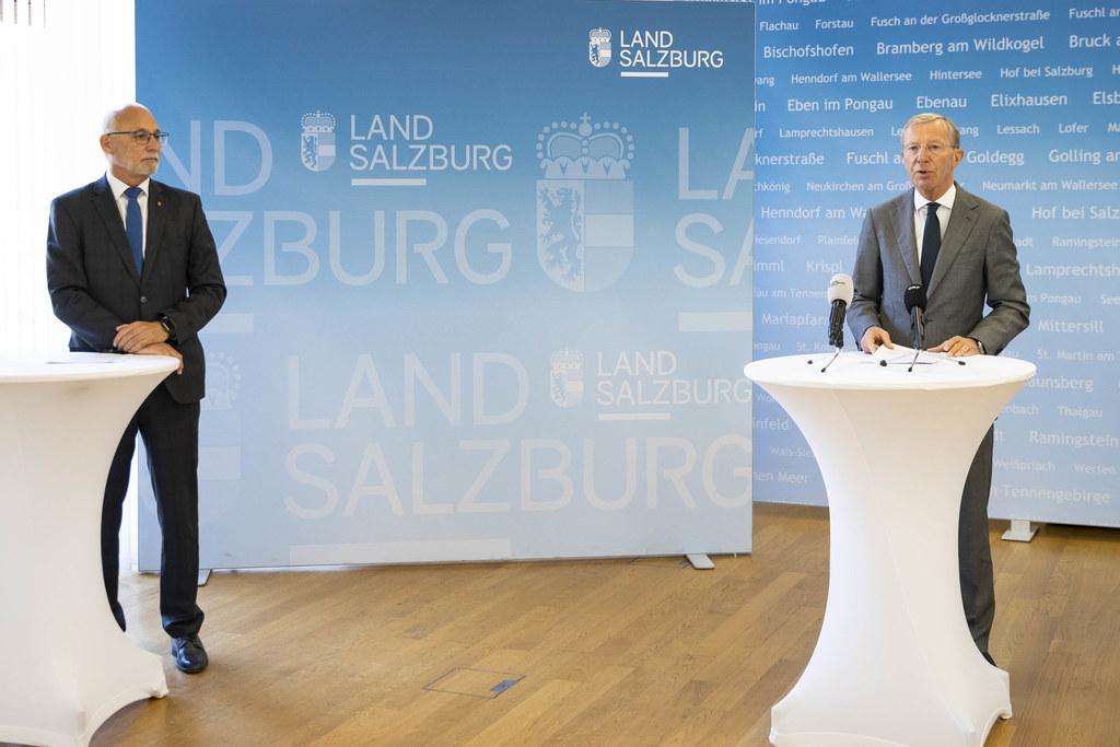 Gemeindebund-Präsident Günther Mitterer und LH Wilfried Haslauer präsentierten ein 30-Millionen Hilfspaket für Salzburgs Gemeinden.