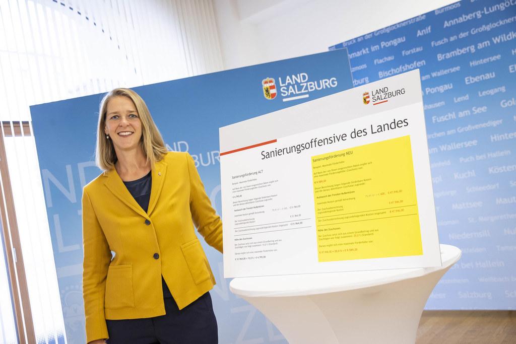 """""""Mit der Sanierungsinitiative ermöglichen wir deutlich bessere Unterstützung in der Wohnbauförderung"""", so Wohnbau-LR Andrea Klambauer."""