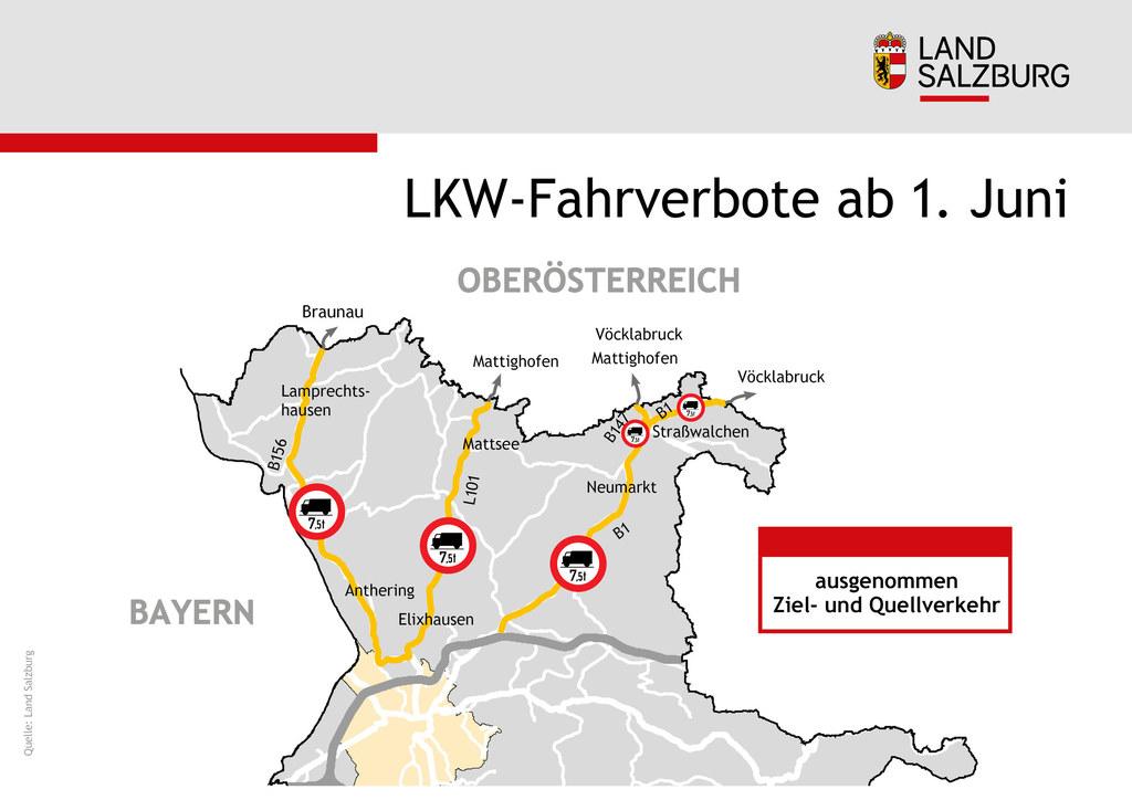 Lkw-Fahrverbote im n�rdlichen Flachgau wieder ab 1. Juni