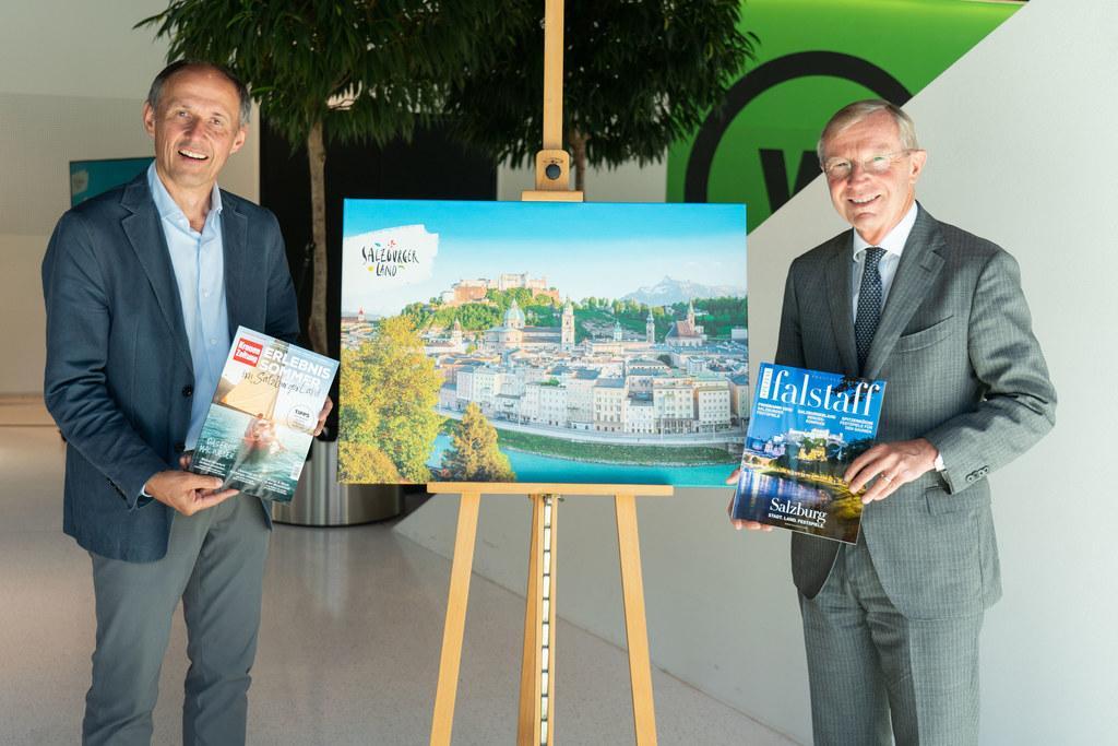 """LH Wilfried Haslauer und Leo Bauernberger, GF der Salzburger Land Tourismus GmbH, betonen: """"Die Sommersaison ist nicht verloren, die Stimmung unter den Touristikern ist den Umständen entsprechend gut."""""""