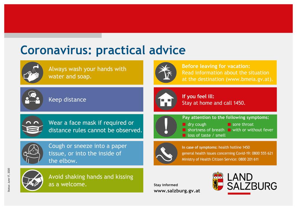 Diese Regeln können vor einer Covid-19-Infektion schützen. Einfach, für alle gültig und effizient. Hier auch in Englisch zum Download.