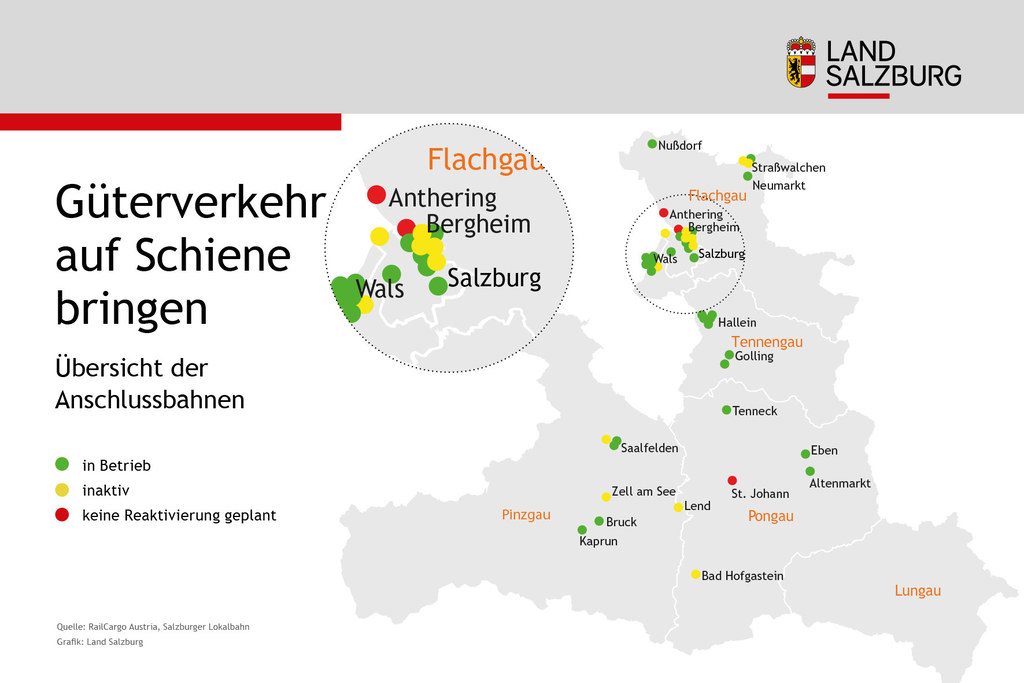 An diesen Orten gibt es Anschlussbahnen - entweder in Betrieb, inaktiv oder derzeit keine Reaktivierung geplant.
