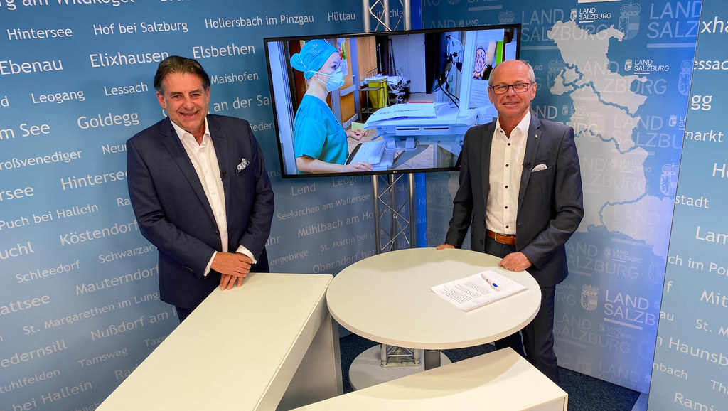 """LH-Stv. Christian Stöckl und Dr. Manfred Mittermair vom Kardinal Schwarzenberg Klinikum in Schwarzach: """"Neue, regionale Covid-19-Versorgung in Salzburg."""""""