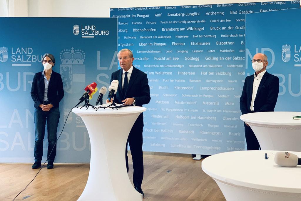 LH Wilfried Haslauer informierte am Donnerstag über die brisante Corona-Lage in Salzburg und vor allem im Tennengau.