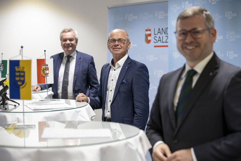 Die Finanzreferenten der Länder stimmten beim Thema Covid-19-Kosten ihre Position gegenüber dem Bund ab: LH-Stv. Anton Lang (Steiermark), LH-Stv. Christian Stöckl (Salzburg) und LR Ludwig Schleritzko (Niederösterreich).