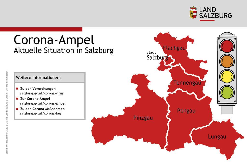 """Die Corona-Ampel bleibt mindestens noch für eine weitere Woche in allen  Salzburger Bezirken """"rot""""."""