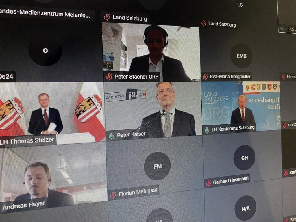 Die Landeshauptleute Wilfried Haslauer (Salzburg), Peter Kaiser (Kärnten) und Thomas Stelzer (Oberösterreich) standen nach der Konferenz den Medien in einer Video-Pressekonferenz für Fragen zur Verfügung.