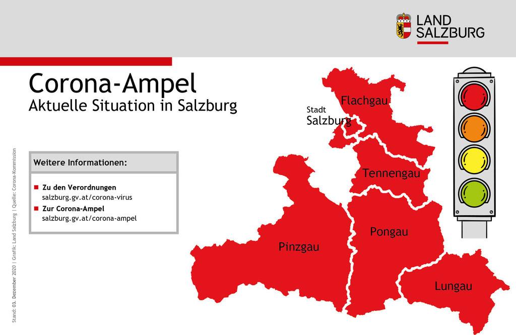 """Die Corona-Ampel bleibt weiterhin in allen Salzburger Bezirken """"rot""""."""